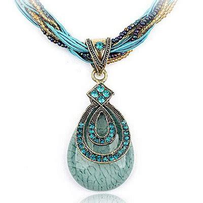 Kalung Korea Blue Water Drop wishbone blue decorated waterdrop pendant design