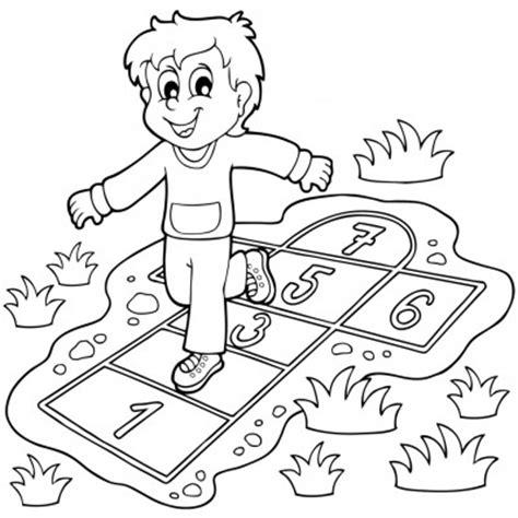 dibujos de niños jugando rayuela rayuela dibujo para colorear