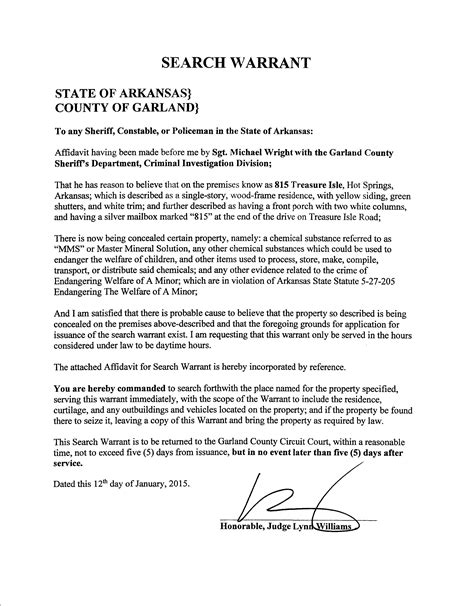 Florida Warrant Search Missing Affidavit Found Garland County Info