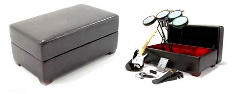 guitar storage ottoman rock band ottoman stores your controllers stifles your