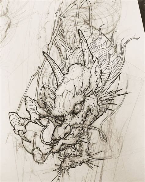 tattoo sketch dragon dragon sketch chronicink asiantattoo asianink irezumi