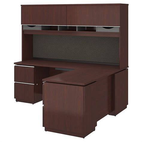 Left L Shaped Desk Bush Bbf Milano2 72 Quot Left L Shaped Desk With Hutch In Harvest Cherry Mi2037lcs