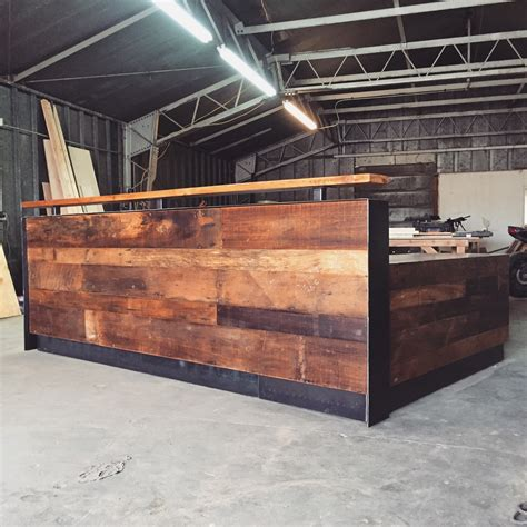 steel reception desk reclaimed wood steel reception desk 10