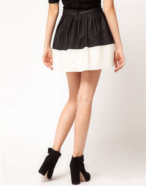 asos collection asos skater skirt in leather look in white
