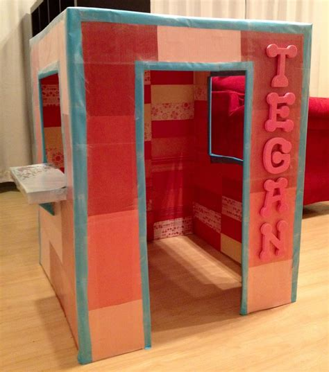 How To Decoupage Cardboard Letters - my daughters new cardboard playhouse took several hours