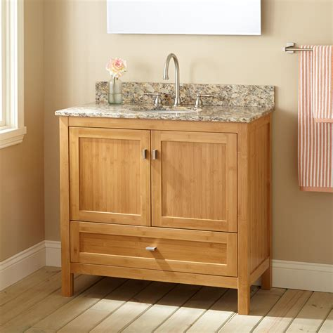 narrow depth alcott bamboo vanity  undermount