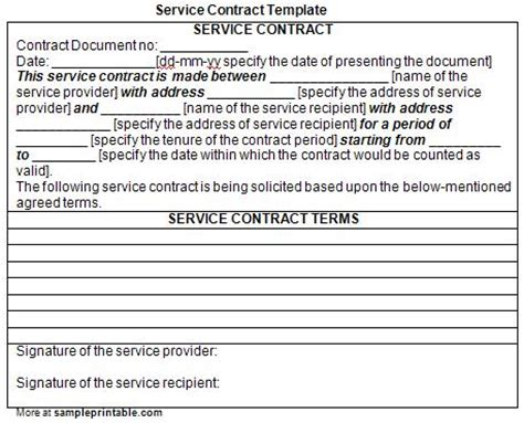 contract services template printable service contract template printable service