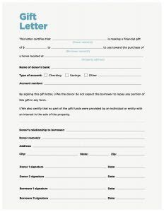 gift letter  mortgage template business