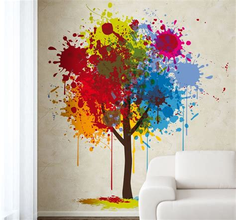 Diy Home Decor Ideas Cheap wall art design ideas trees splash wall paint art