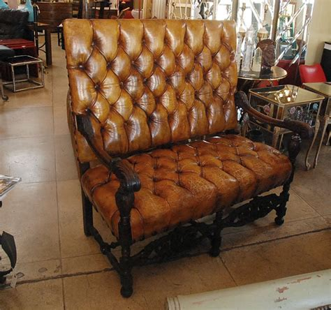 carved walnut leather tufted high  sofabench