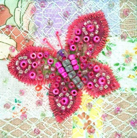 Patchwork Butterfly - beaded butterfly card pink butterfly fabric card