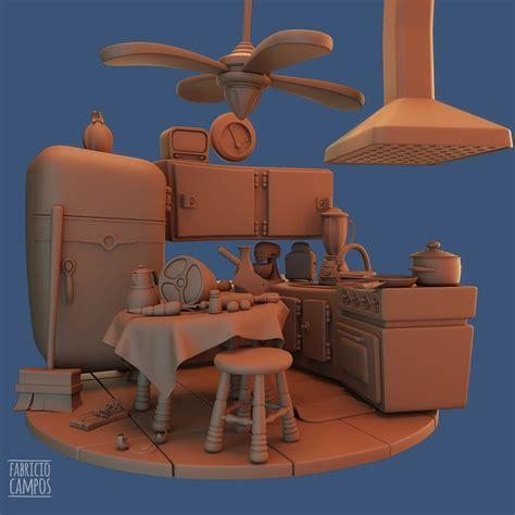 artstation cartoon kitchen fabricio campos asset