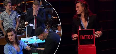 harry styles gets tattoo on live tv watch harry styles gets a tattoo on live tv channel24