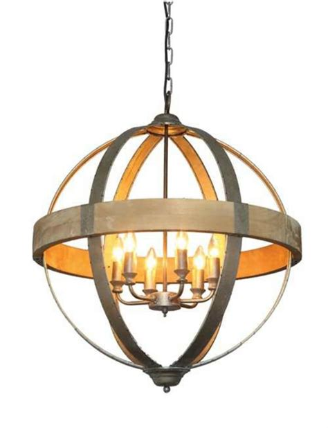 Pendant Light Metal Shaped Metal And Wood Chandelier W Pendant Light In Middle 6 Bulbs The Bay