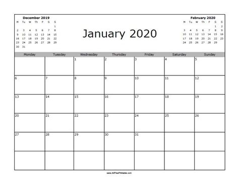 january  calendar starting  monday blank january  calendar printable template
