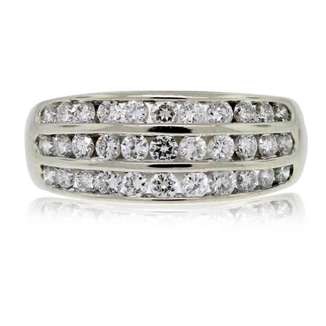 14kt white gold three row band ring boca raton