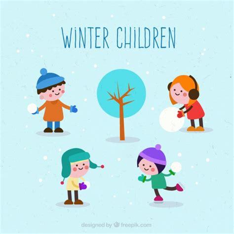 clipart inverno winter children vector free
