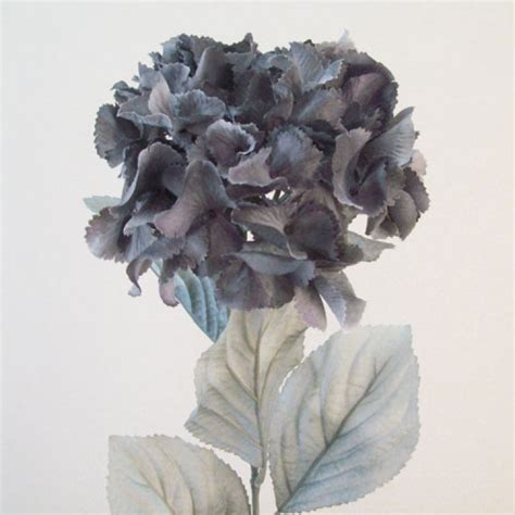 Home Interiors Candle Holders Artificial Hydrangeas Grey With Grey Leaves Artificial