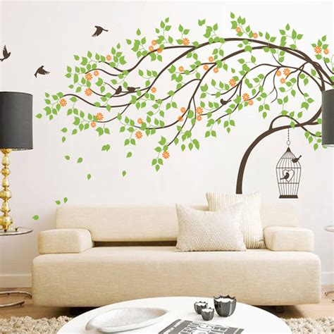 birdcage wall sticker leaning tree with birds and birdcage wall sticker by wall