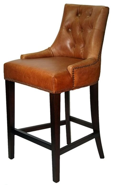 leather top bar stools vintage antique brown and coco top grain leather stool