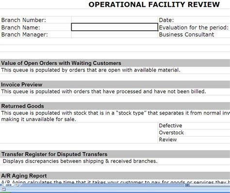 Implementation Report Template Operations Review Operational Review Post Erp