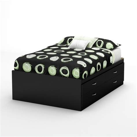 Back Bay Full Captains Bed In Pure Black 3107209 Black Captains Bed