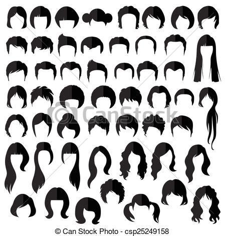 vecteur clipart de coiffure, vecteur, cheveux femme, nad