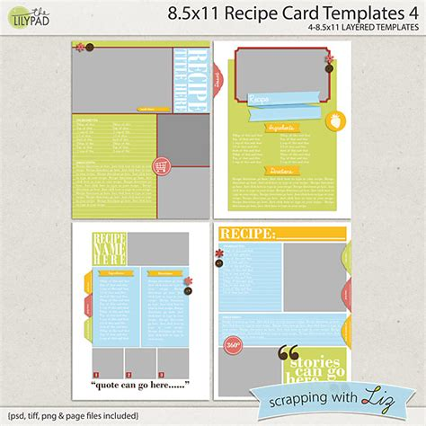 digital scrapbook templates  recipe page
