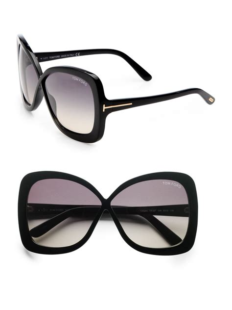 tom ford calgary plastic butterfly sunglasses black in