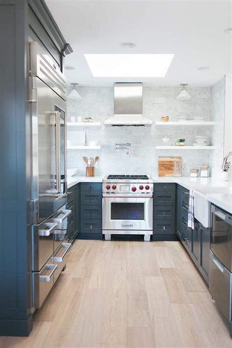 gray galley style kitchen  gray  white quartzite