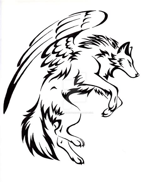 tribal wolf coloring page courage winged wolf tattoo by captainmorwen on deviantart
