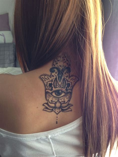 Tattoo High Back | hamsa hand and lotus flower located on neck high back