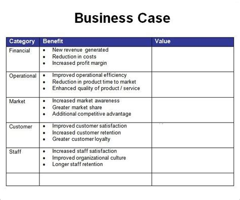 business case ejemplo resultado de imagen para business case template business