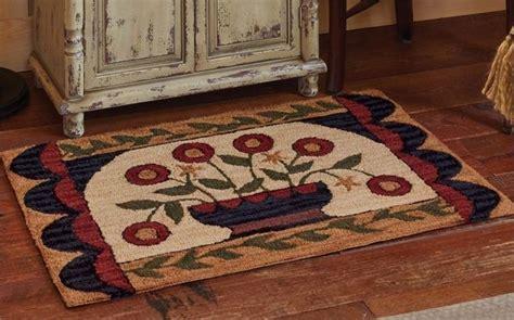 country hooked rugs new primitive country folk flower basket wool hooked rug floor mat parkdesigns