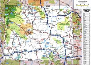 large detailed roads and highways map of wyoming state