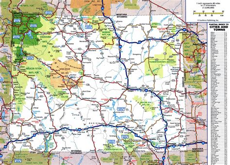 printable wyoming road map large detailed roads and highways map of wyoming state