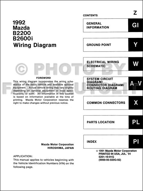 1992 mazda b2200 b2600i truck wiring diagram manual