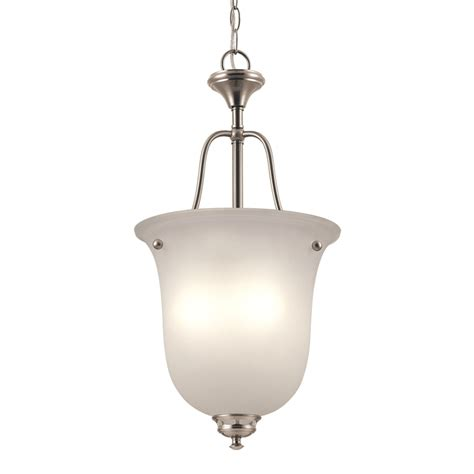 Frosted Glass Pendant Light Shade Shop Project Source Fallsbrook 12 In W Brushed Nickel Pendant Light With Frosted Glass Shade At
