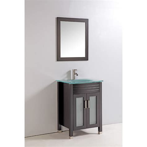 bathroom vanity with top and mirror tempered glass top 24 inch single sink bathroom vanity