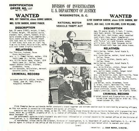 Bonnie And Clyde Criminal Record Bonnie And Clyde Fbi