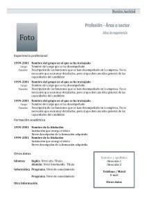 Plantilla Curriculum Vitae Funcional Para Rellenar Modelos De Curr 237 Culum Modelo Cronol 243 Gico 1 Modelo Curriculum