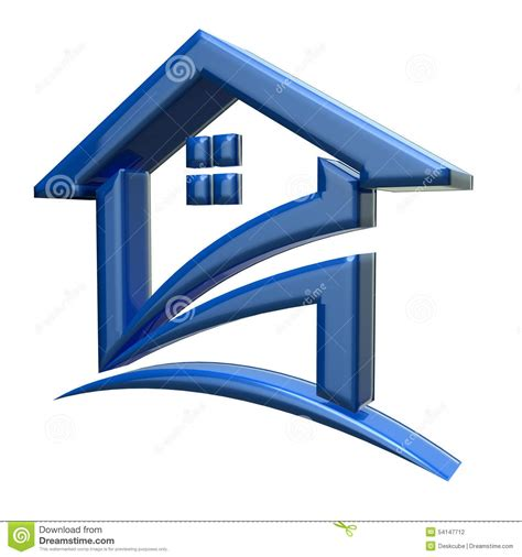 home design 3d logo 3d blue house logo stock illustration illustration of