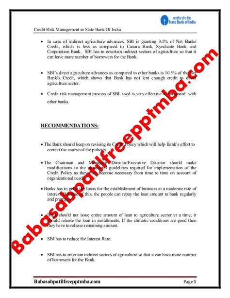 Mba Project Report On Syndicate Bank by A Project Report On Credit Risk Sbi Project Report Mba
