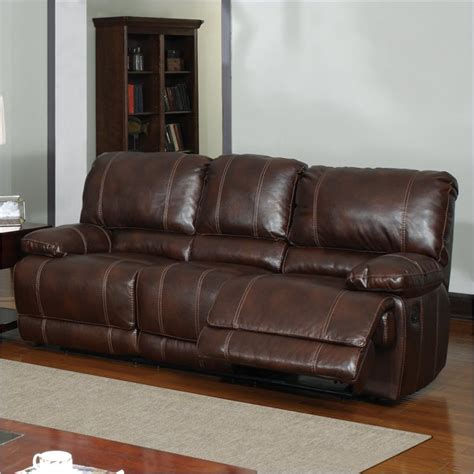 Brown Leather Reclining Sofa by Features