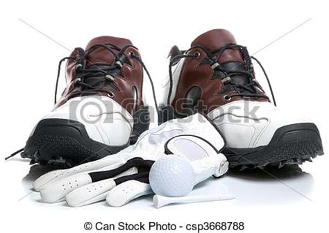 pictures of golf shoes,ball,glove and tee. high key shot