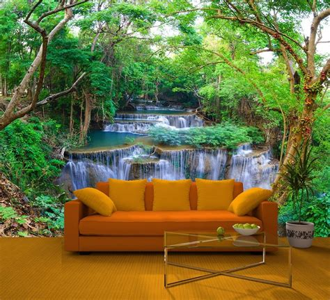 Wall Paper Murals Green Spring Forest Nature Waterfall Feature Wall Mural