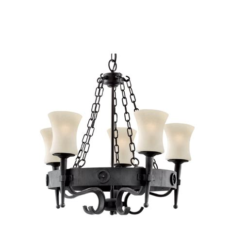 searchlight 0815 5bk cartwheel 5 light wrought iron