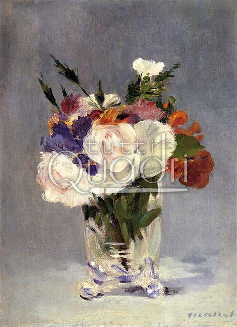 fiori di cristallo fiori in un vaso di cristallo di manet quadro floreale