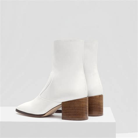 white boots zara block heel leather ankle boots in white lyst