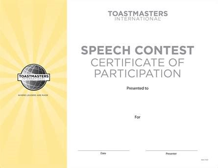 forms and templates toastmasters for texas central speech contest participation certificate